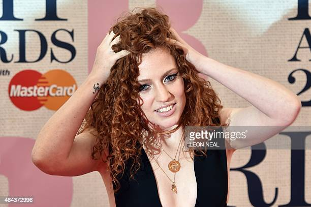 British singer and songwriter Jess Glynne poses on the red carpet to attend the BRIT Awards 2015 in London on February 25 2015 PERFORMER
