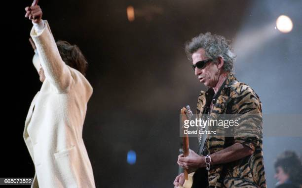 British singer and songwriter Mick Jagger and guitarist and songwriter Keith Richards of the rock band The Rolling Stones on stage at the Giants...