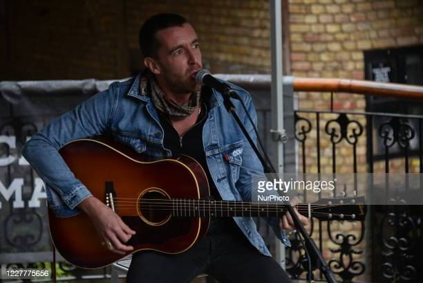 British singer and songwriter Miles Kane performs live at the Camden Market, London on July 25, 2020. Miles Kane performed at Camden's amphitheatre...