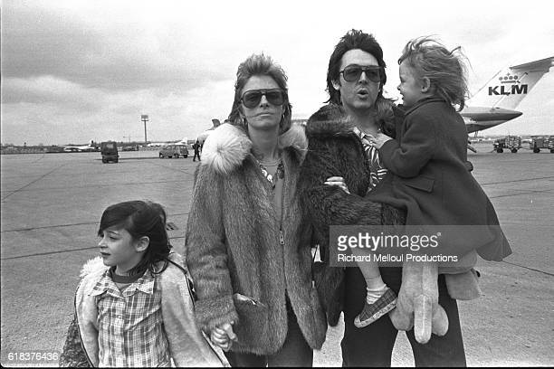 British singer and songwriter Paul McCartney his wife American photographer Linda Eastman and their children in France