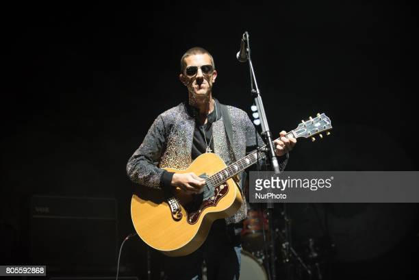 British singer and songwriter Richard Ashcroft plays on stage at O2 Academy Brixton, London on July 1, 2017. He was the lead singer and occasional...