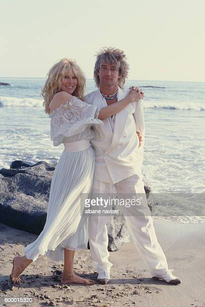 British singer and songwriter Rod Stewart and his wife actress and former model Alana Hamilton Stewart