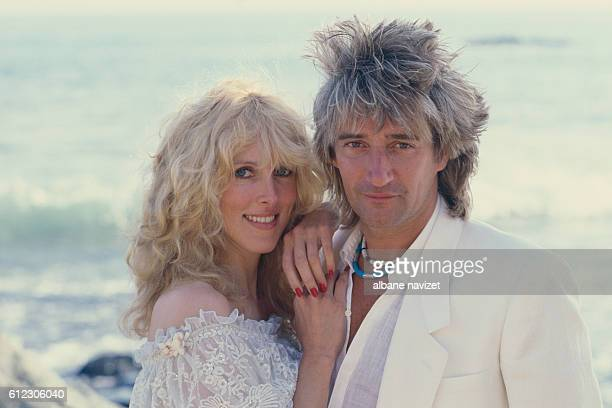 British singer and songwriter Rod Stewart and his wife actress and former model Alana Hamilton Stewart.