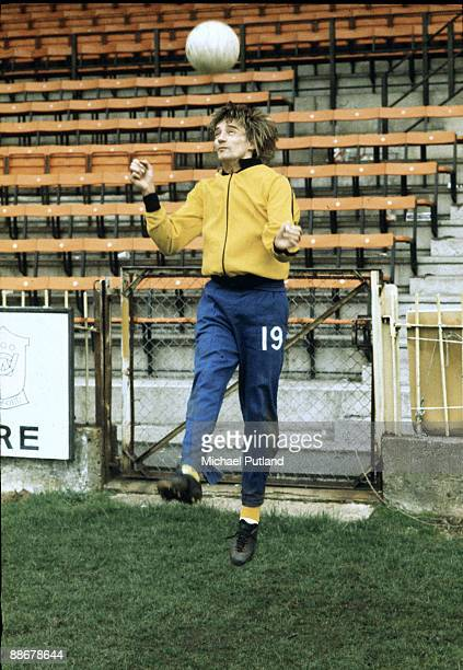 British singer and songwriter Rod Stewart training at Watford Football Club London November 1973