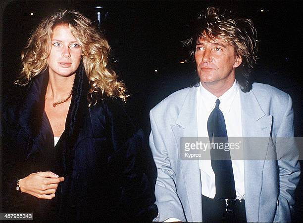 British singer and songwriter Rod Stewart with his wife Rachel Hunter circa 1992