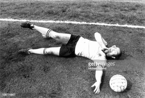 British singer and vicepresident of Watford FC Elton John playing football at Vicarage Road in Watford England in April 1974