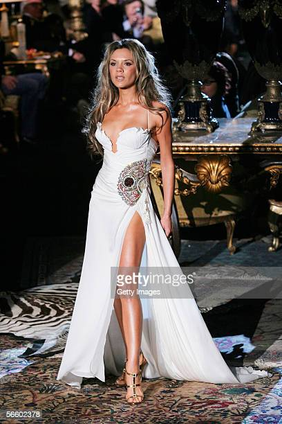 British singer and wife of football player Davis Beckham , Victoria Beckham walk down the runway at the Roberto Cavalli show as part of Milan...