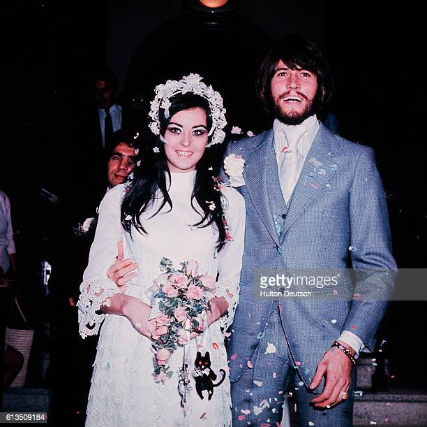 British singer Barry Gibb from the pop group the Bee Gees, at his wedding to Linda Gray.