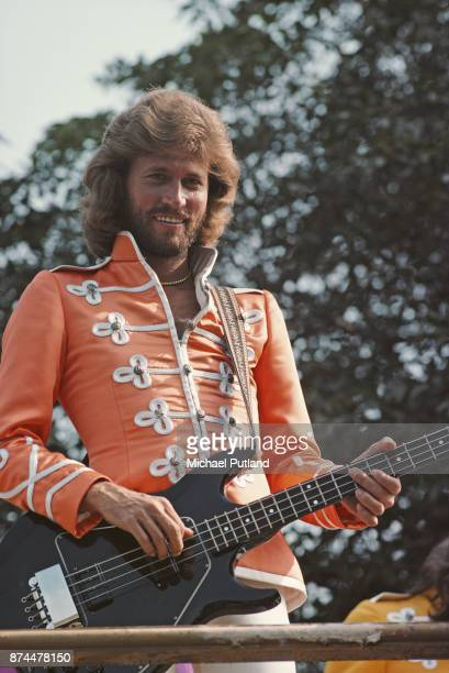 British singer Barry Gibb of pop group The Bee Gees on the set of 'Sgt Pepper's Lonely Hearts Club Band' musical comedy film directed by Michael...