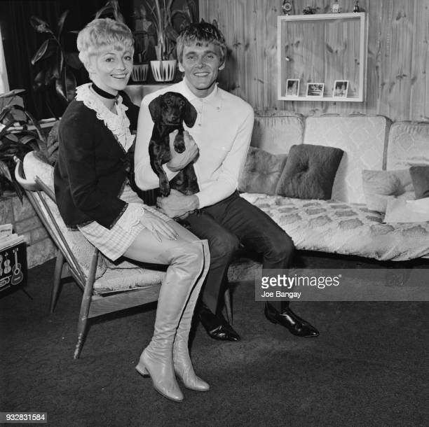British singer Billy Fury with his fiancee Judith Hall and their dachshund 'Fred' UK 23rd September 1968