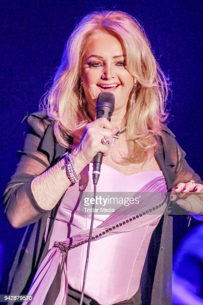 British singer Bonnie Tyler performs during she celebrates her 40year career at Mehr Theatre on April 6 2018 in Hamburg Germany