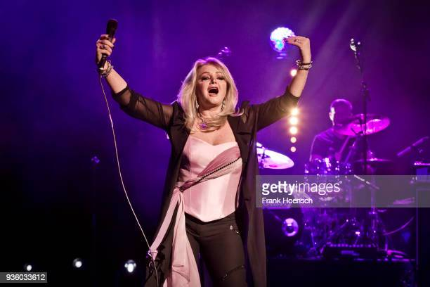 British singer Bonnie Tyler performs live on stage during a concert at the Friedrichstadtpalast on March 21 2018 in Berlin Germany