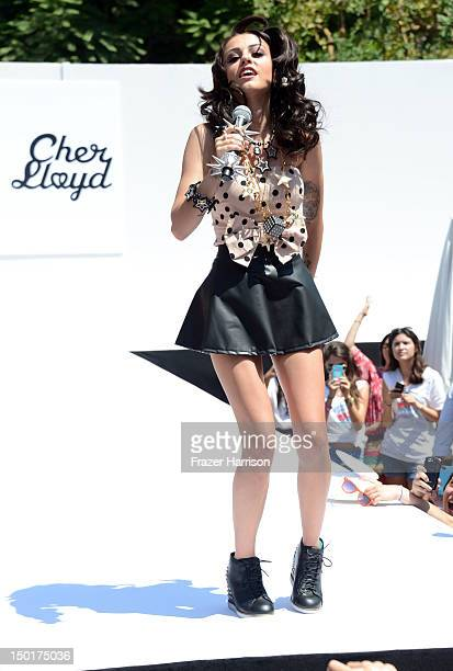 British Singer Cher Lloyd performs at the Teen Vogue BackToSchool Event hosted by Shay Mitchell at The Grove on August 11 2012 in Los Angeles...