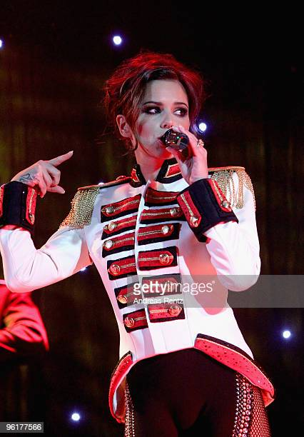British singer Cheryl Cole performs on stage during the DLD Starnight at Haus der Kunst on January 25 2010 in Munich Germany