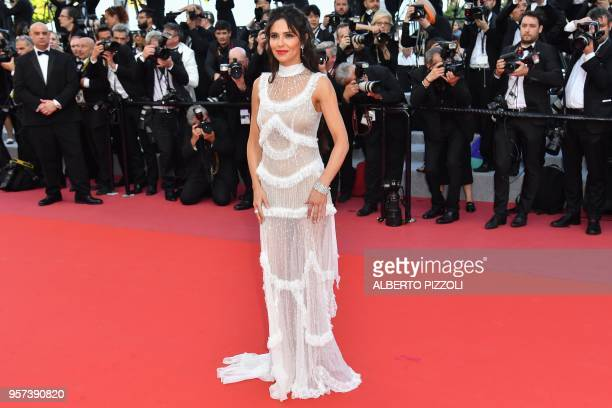 TOPSHOT British singer Cheryl Cole poses as she arrives on May 11 2018 for the screening of the film Ash is Purest White at the 71st edition of the...