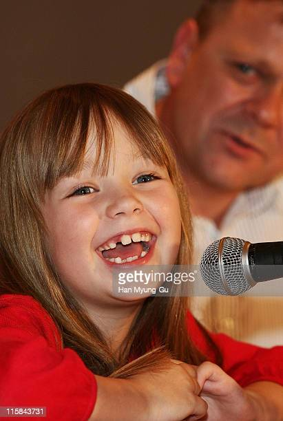 British singer Connie Talbot from Britain's Got Talent holds a press conference with her father Gavin at COEX Intercontinental Hotel on April 23 2008...