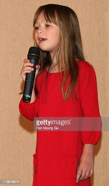 British singer Connie Talbot from Britain's Got Talent performs onstage after a press conference at COEX Intercontinental Hotel on April 23 2008 in...