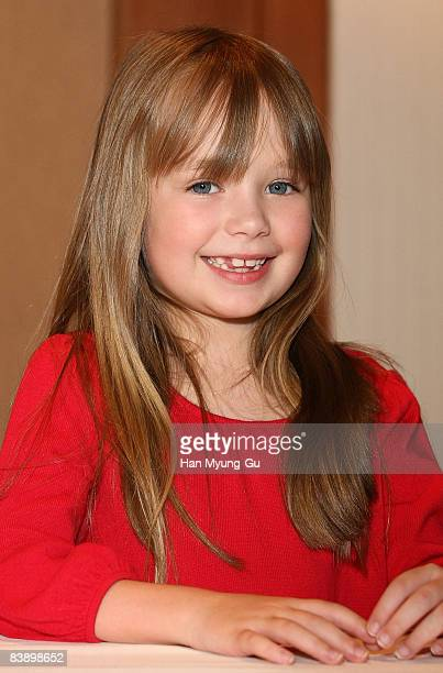 British Singer Connie Talbot from Britain's Got Talent pose for photographer after a press conference at COEX Intercontinental Hotel on April 23 2008...