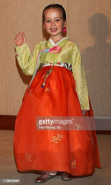 British singer Connie Talbot from Britain's Got Talent wearing a South Korean traditional Hanbok after a press conference at COEX Intercontinental...