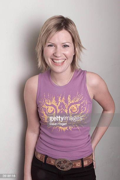 British singer Dido poses for photopraphers backstage at her concert on January 11 2001 in Dublin Ireland