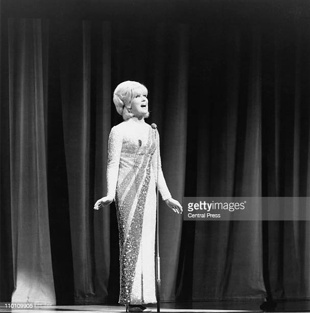 British singer Dusty Springfield on stage during the Royal Variety Performance at the London Palladium, 8th November 1965.