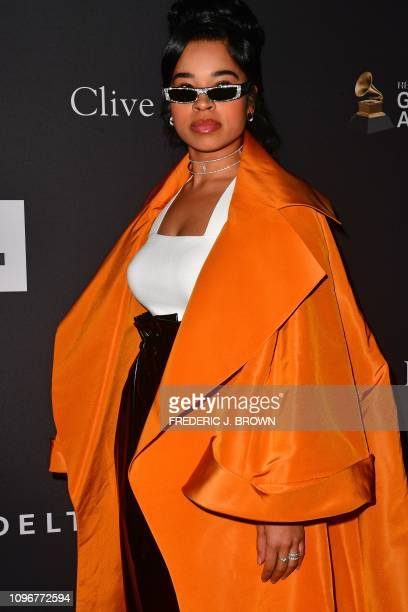British singer Ella Mai arrives for the traditional Clive Davis party on the eve of the 61th Annual Grammy Awards at the Beverly Hilton hotel in...