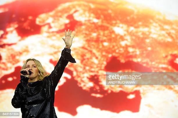 British singer Ellie Goulding performs on the Pyramid Stage on day five of the Glastonbury Festival of Music and Performing Arts on Worthy Farm near...