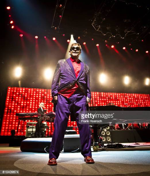 British singer Elton John performs live on stage during a concert at the MercedesBenz Arena on July 7 2017 in Berlin Germany