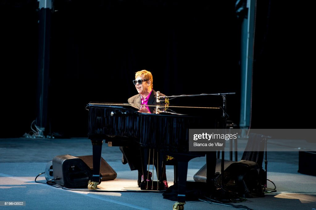 British singer Elton John performs on stage during a concert at the Starlite Music Festival on July 20, 2017 in Marbella, Spain.