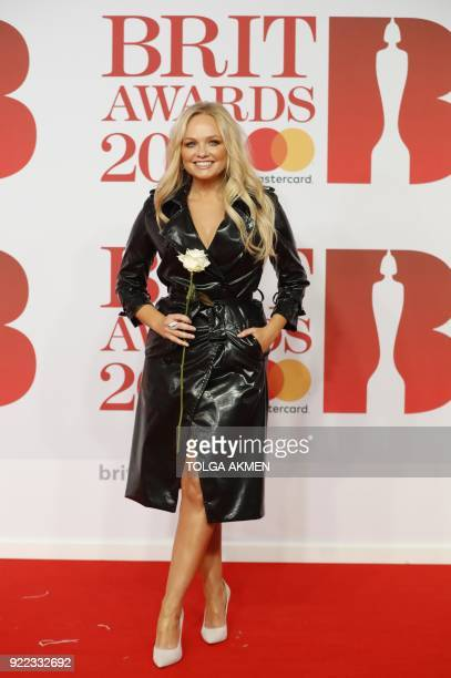 British singer Emma Bunton poses on the red carpet on arrival for the BRIT Awards 2018 in London on February 21 2018 / AFP PHOTO / Tolga AKMEN /...