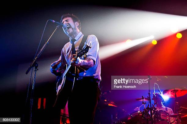 British singer Frank Turner performs live during a concert at Huxleys Neue Welt on January 17 2015 in Berlin Germany