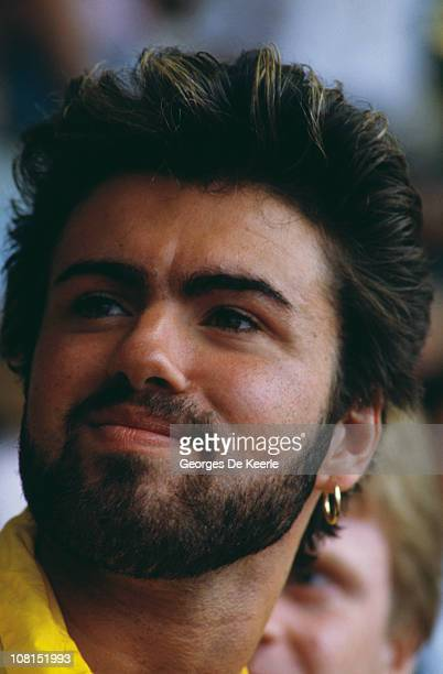 British singer George Michael of Wham at the Live Aid concert at Wembley Stadium London 13th July 1985 The concert raised funds for famine relief in...