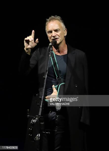 British singer Gordon Summer aka 'Sting' performs at the Palais Nikaia in Nice, southeastern France on October 26, 2019. / TO BE USED SOLELY TO...