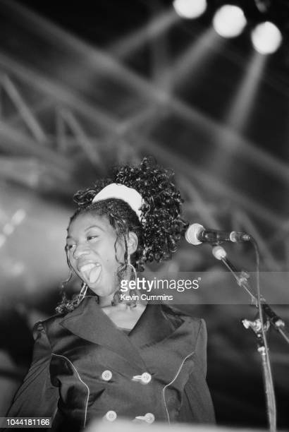 British singer Heather Small performing with dance music band band M People Paris circa 1995