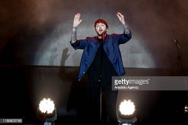 British singer James Arthur performs on stage during Regnum Live in Concert event in Antalya Turkey on June 18 2019