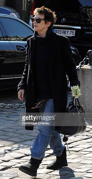 British singer Jane Birkin attends singer Alain Bashung's funeral at SaintGermaindesPres church on March 20 2009 in Paris France