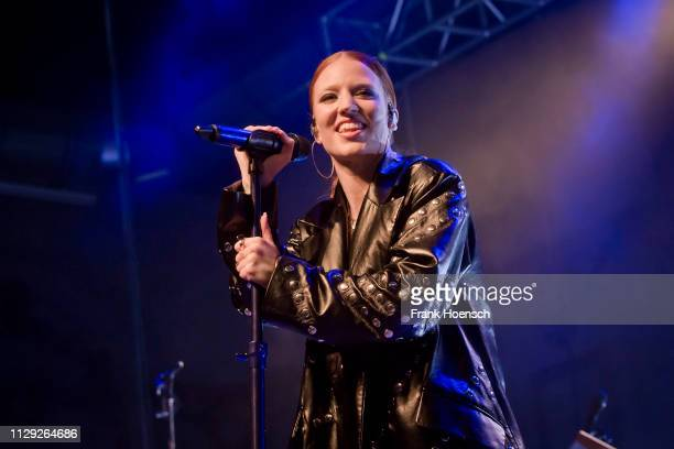 British singer Jess Glynne performs live on stage during a concert at the Huxleys on March 8 2019 in Berlin Germany
