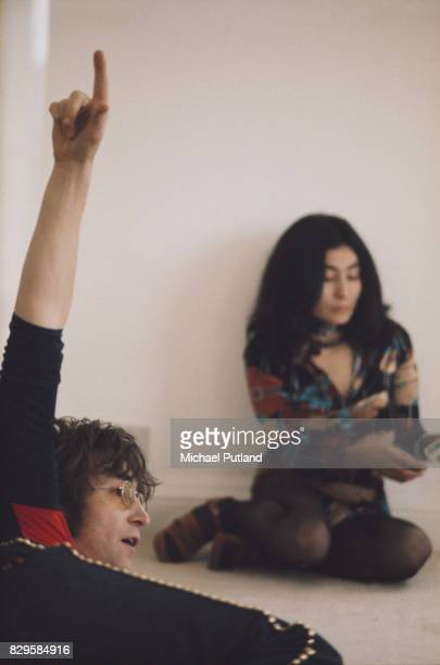 British singer John Lennon with his wife Yoko Ono at their home Tittenhurst Park near Ascot Berkshire July 1971