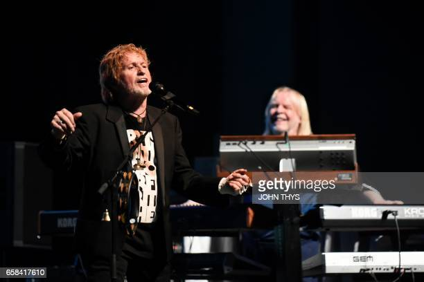 British singer Jon Anderson performs with British keyboardist Richard Christopher Rick Wakeman of the band ARW formed by three former members of Yes...