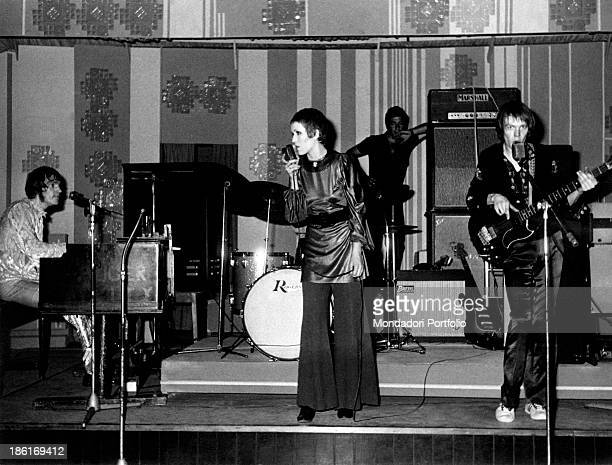 British singer Julie Driscoll performing at the night club La Bussola accompanied by British keyboard player Brian Auger and British bass player...