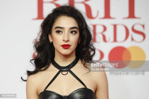 British singer Kara Marni poses on the red carpet on arrival for the BRIT Awards 2018 in London on February 21 2018 / AFP PHOTO / Tolga AKMEN /...