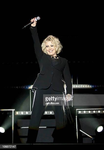 British singer Kim Wilde performs live during a concert at the Tempodrom on February 23 2011 in Berlin Germany