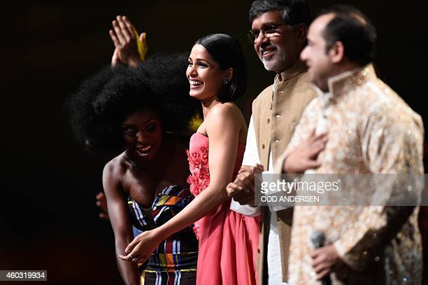 British singer Laura Mvula Indian actress Freida Pinto Nobel Peace Prize laureate 2014 Kailash Satyarthi and Pakistani singer Ustad Rahat Fateh Ali...
