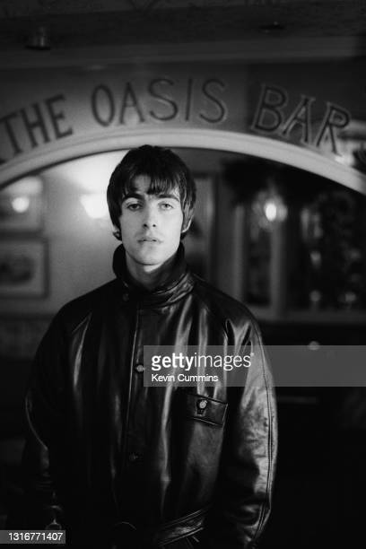 British singer Liam Gallagher of Oasis, in the Oasis Bar at The King's Hotel, Newport, South Wales, United Kingdom, 4th May 1994.