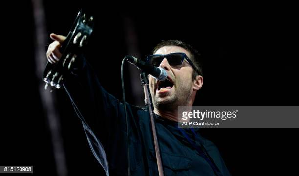 British singer Liam Gallagher performs on the fourth day of the Benicassim International Festival in Benicasim on July 15 2017 The Benicassim...
