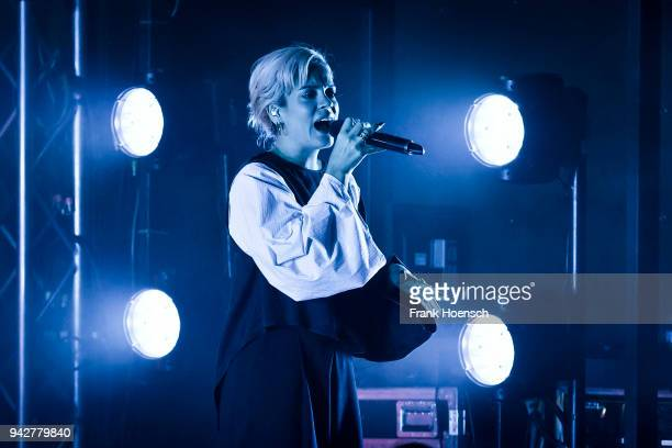 British singer Lily Allen performs live on stage during a concert at the Lido on April 6 2018 in Berlin Germany