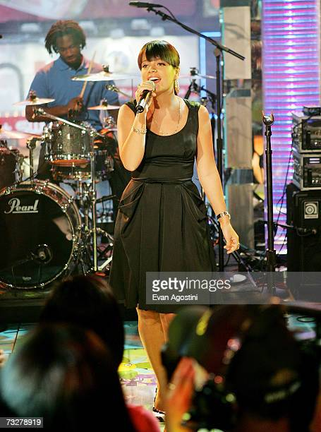 British singer Lily Allen performs on MTV's Total Request Live on February 9 2007 at MTV Studios in New York City