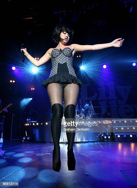 British singer Lily Allen performs on stage in concert at the Hordern Pavilion on January 21, 2010 in Sydney, Australia.