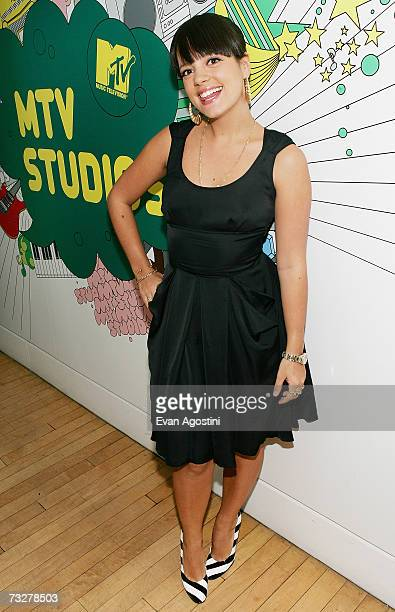 British singer Lily Allen poses backstage after appearing on MTV's Total Request Live on February 9 2007 at MTV Studios in New York City