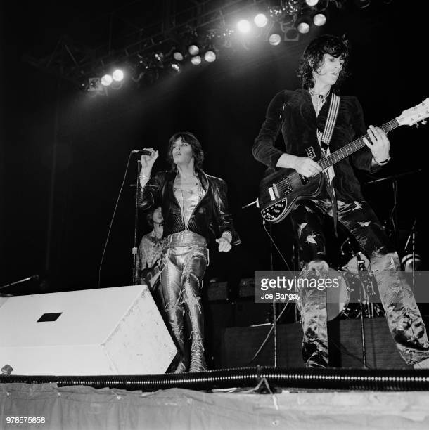 British singer Mick Jagger and British guitarist Keith Richards of rock band The Rolling Stones performing live at Wembley Arena London UK 8th...